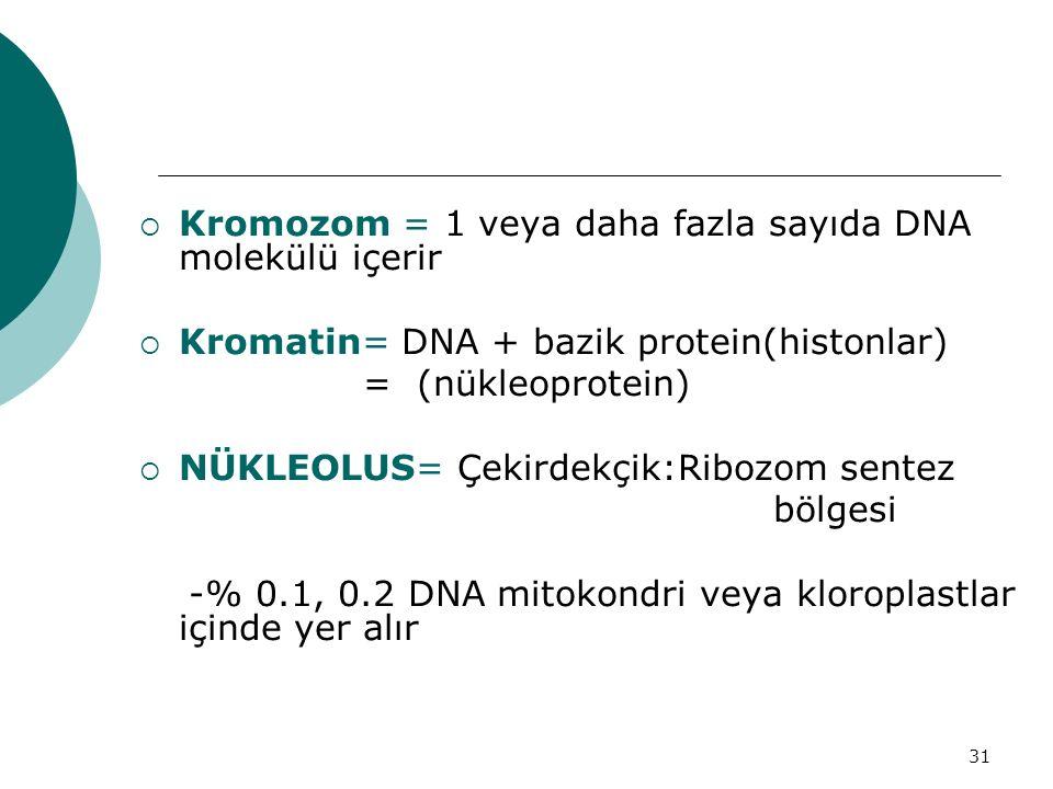 Kromozom = 1 veya daha fazla sayıda DNA molekülü içerir