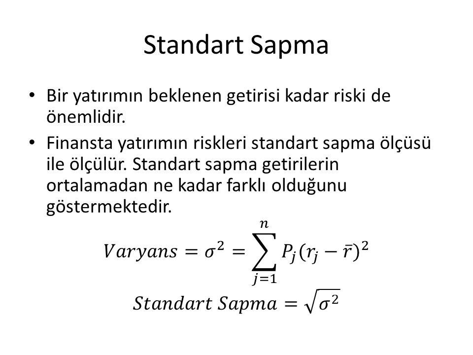 Standart Sapma Bir yatırımın beklenen getirisi kadar riski de önemlidir.