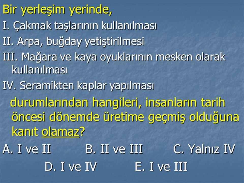 A. I ve II B. II ve III C. Yalnız IV D. I ve IV E. I ve III