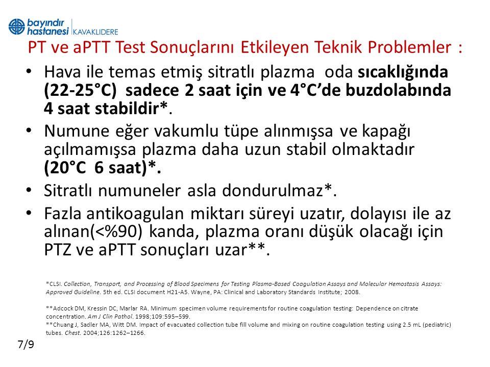 PT ve aPTT Test Sonuçlarını Etkileyen Teknik Problemler :