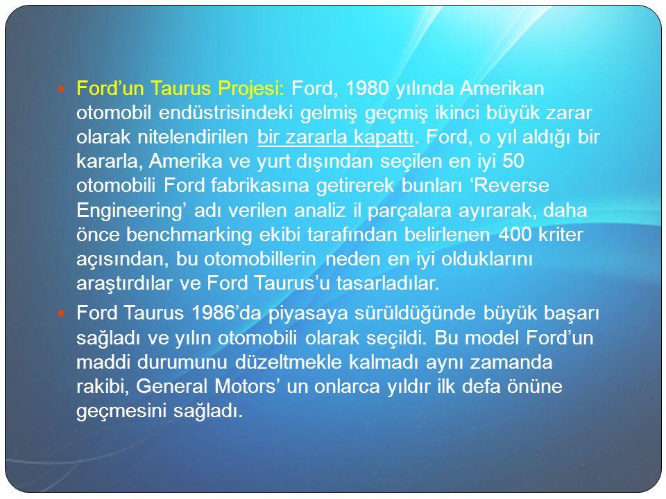 Ford'un Taurus Projesi: Ford, 1980 yılında Amerikan otomobil endüstrisindeki gelmiş geçmiş ikinci büyük zarar olarak nitelendirilen bir zararla kapattı. Ford, o yıl aldığı bir kararla, Amerika ve yurt dışından seçilen en iyi 50 otomobili Ford fabrikasına getirerek bunları 'Reverse Engineering' adı verilen analiz il parçalara ayırarak, daha önce benchmarking ekibi tarafından belirlenen 400 kriter açısından, bu otomobillerin neden en iyi olduklarını araştırdılar ve Ford Taurus'u tasarladılar.