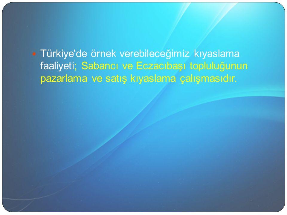 Türkiye de örnek verebileceğimiz kıyaslama faaliyeti; Sabancı ve Eczacıbaşı topluluğunun pazarlama ve satış kıyaslama çalışmasıdır.