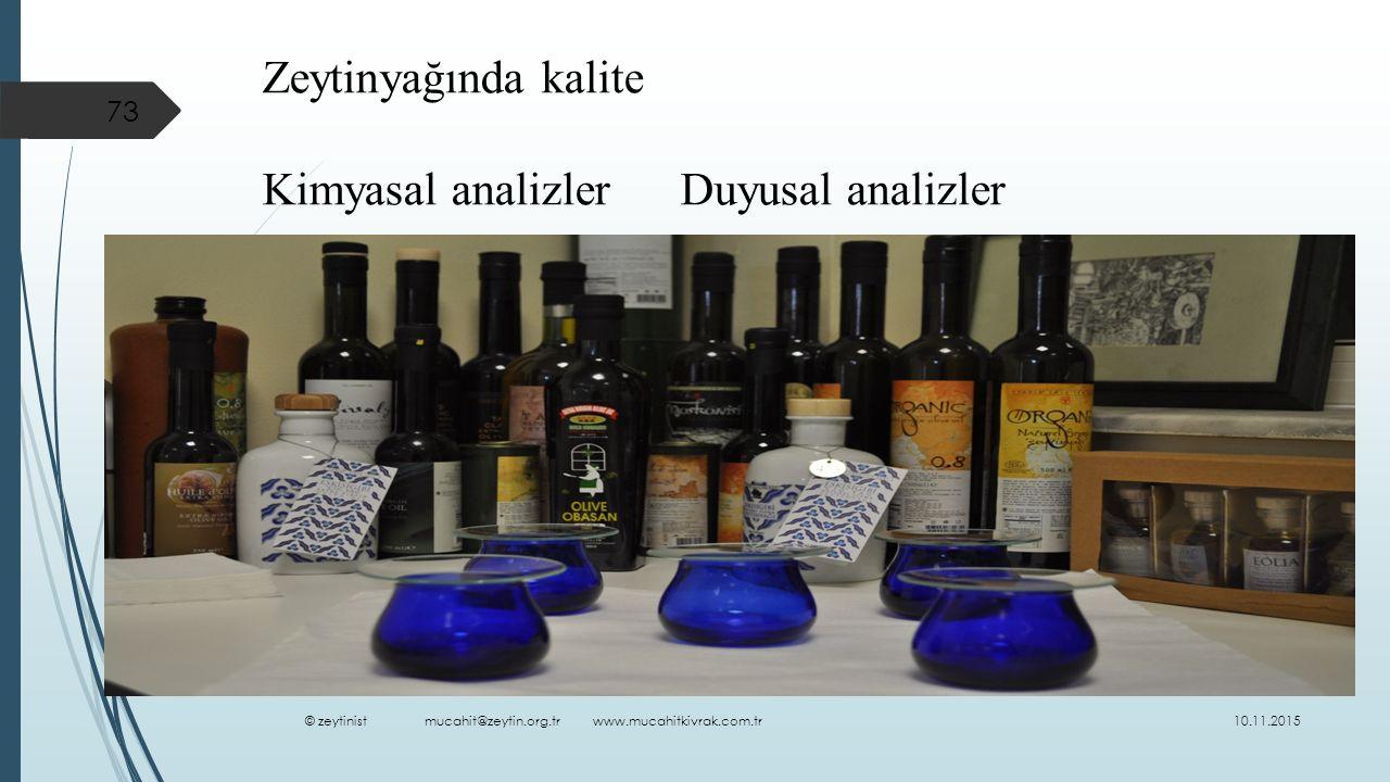 Kimyasal analizler Duyusal analizler