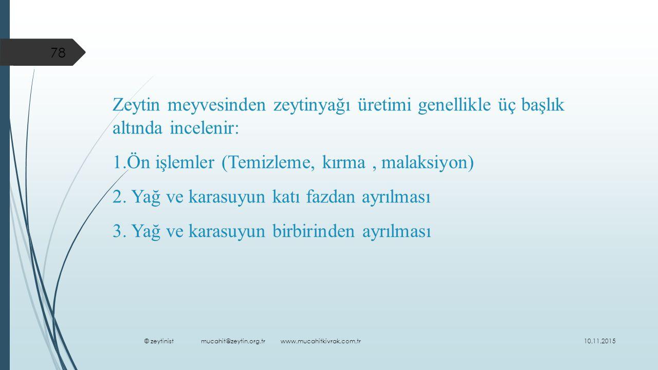 1.Ön işlemler (Temizleme, kırma , malaksiyon)