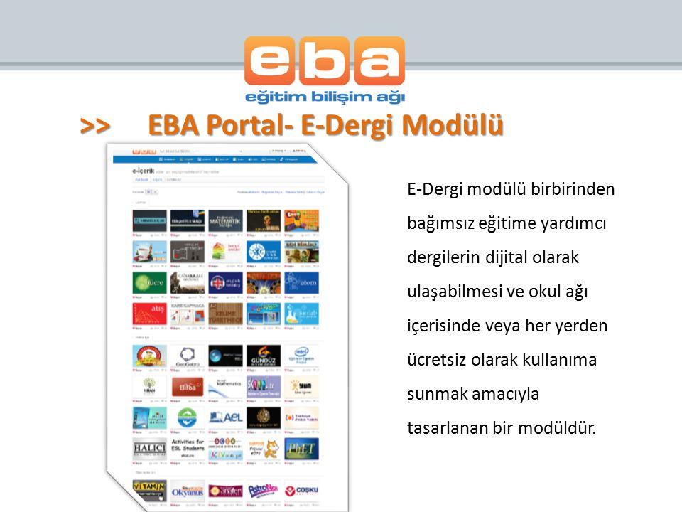 >> EBA Portal- E-Dergi Modülü