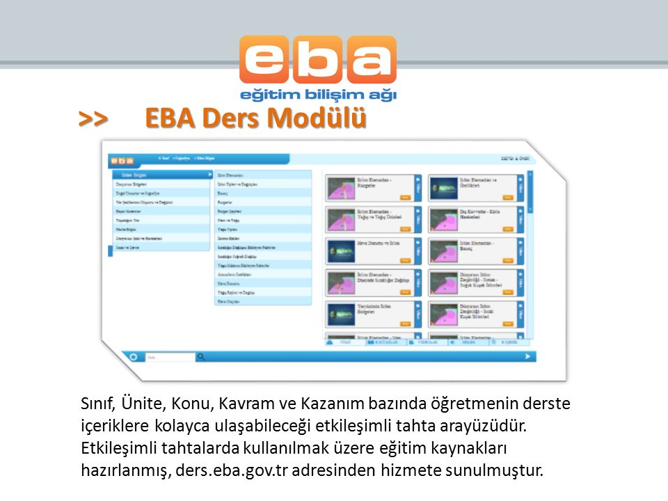 >> EBA Ders Modülü