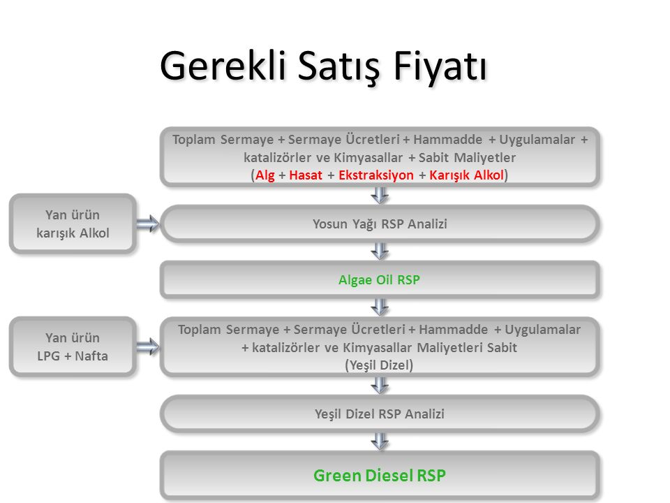 (Alg + Hasat + Ekstraksiyon + Karışık Alkol) Yeşil Dizel RSP Analizi