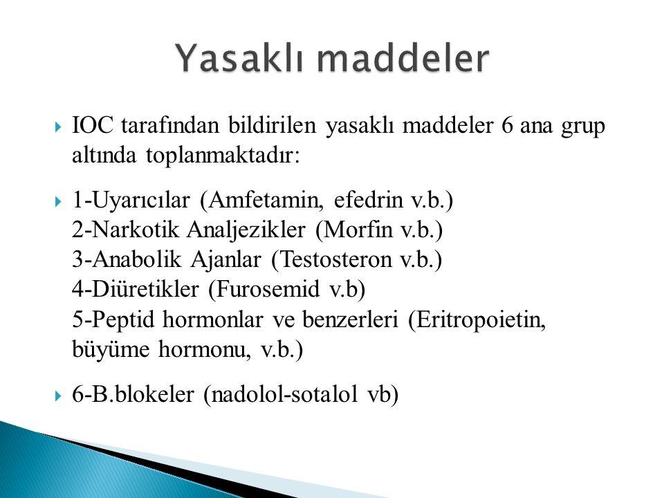 Yasaklı maddeler IOC tarafından bildirilen yasaklı maddeler 6 ana grup altında toplanmaktadır: