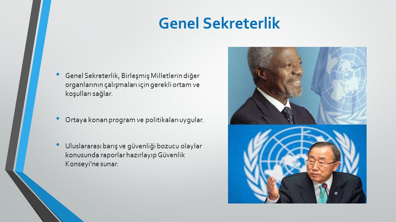 Genel Sekreterlik Genel Sekreterlik, Birleşmiş Milletlerin diğer organlarının çalışmaları için gerekli ortam ve koşulları sağlar.