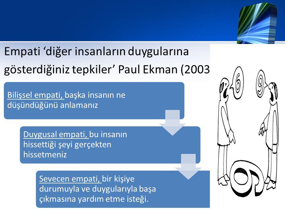 Empati 'diğer insanların duygularına gösterdiğiniz tepkiler' Paul Ekman (2003)