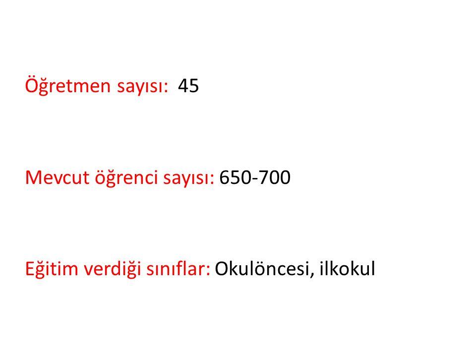 Öğretmen sayısı: 45 Mevcut öğrenci sayısı: 650-700 Eğitim verdiği sınıflar: Okulöncesi, ilkokul