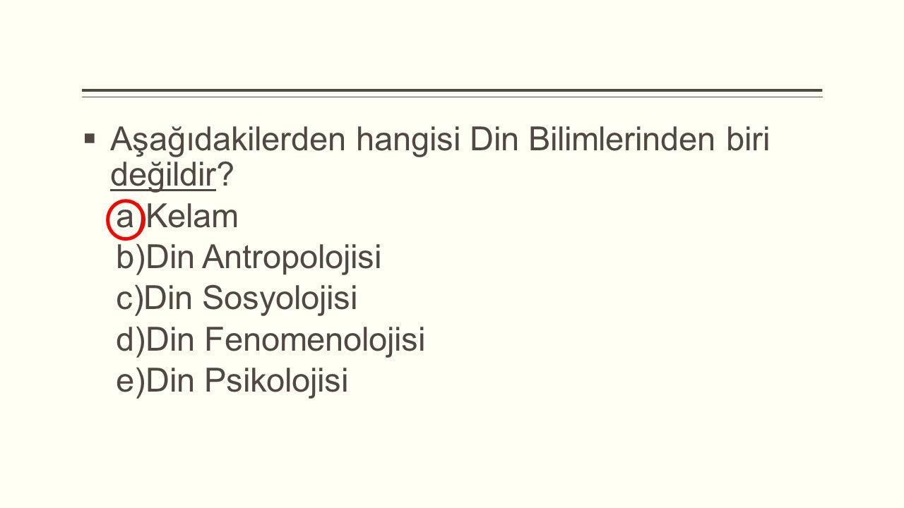 Aşağıdakilerden hangisi Din Bilimlerinden biri değildir