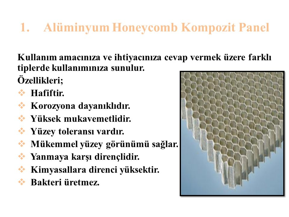 Alüminyum Honeycomb Kompozit Panel
