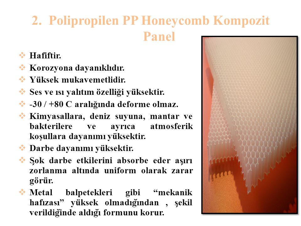 Polipropilen PP Honeycomb Kompozit Panel