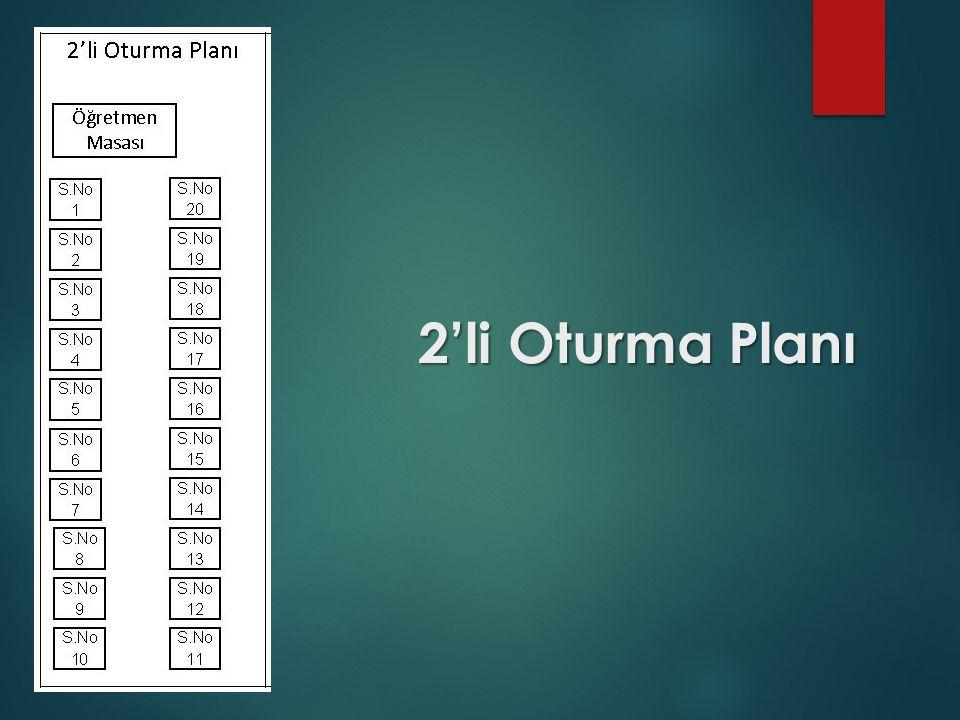 2'li Oturma Planı