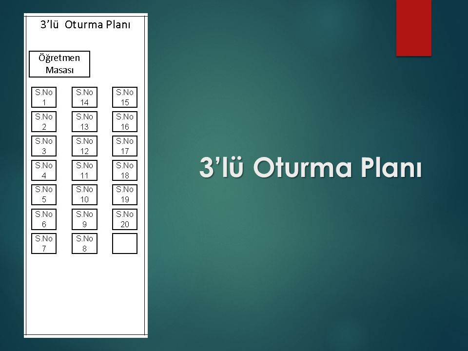 3'lü Oturma Planı