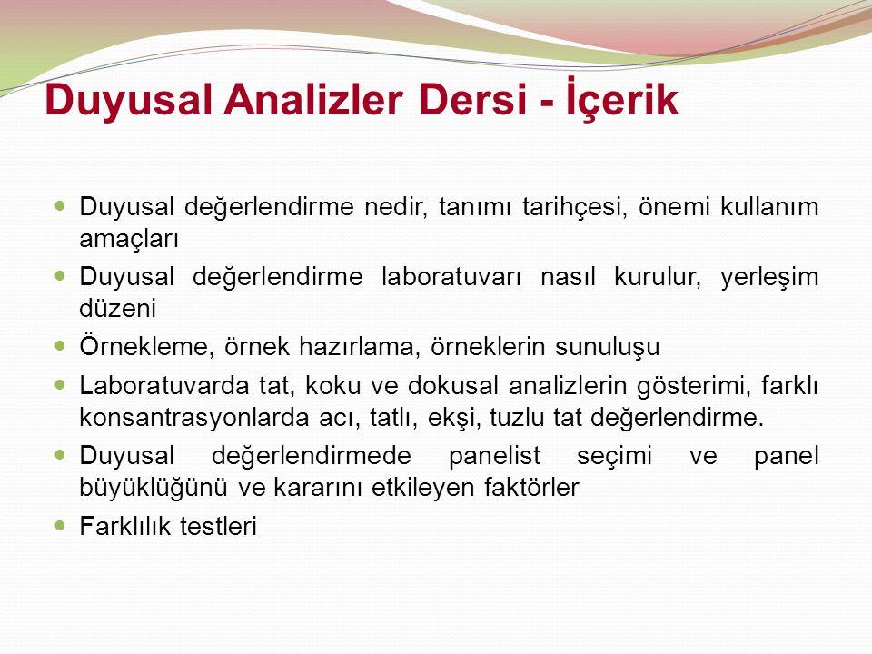 Duyusal Analizler Dersi - İçerik