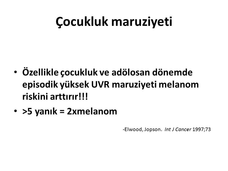 Çocukluk maruziyeti Özellikle çocukluk ve adölosan dönemde episodik yüksek UVR maruziyeti melanom riskini arttırır!!!