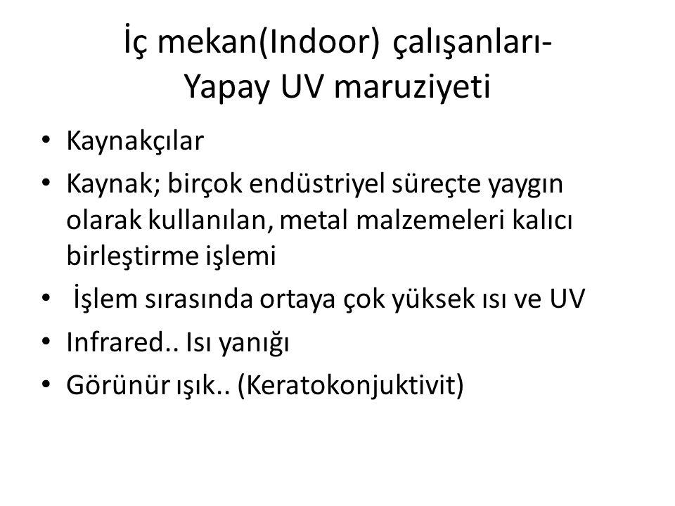 İç mekan(Indoor) çalışanları- Yapay UV maruziyeti
