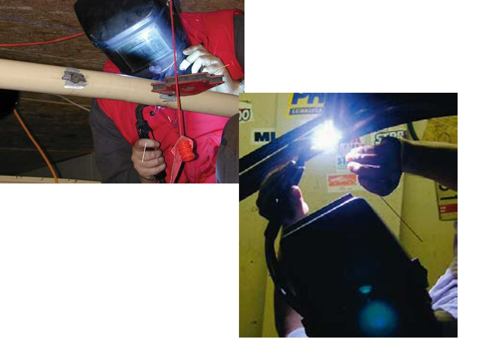 This tradesman is using gas metal arc welding with a relatively high