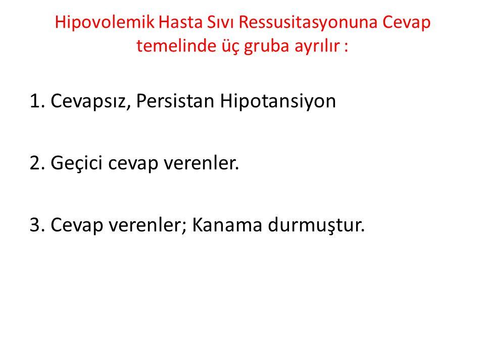 1. Cevapsız, Persistan Hipotansiyon 2. Geçici cevap verenler.