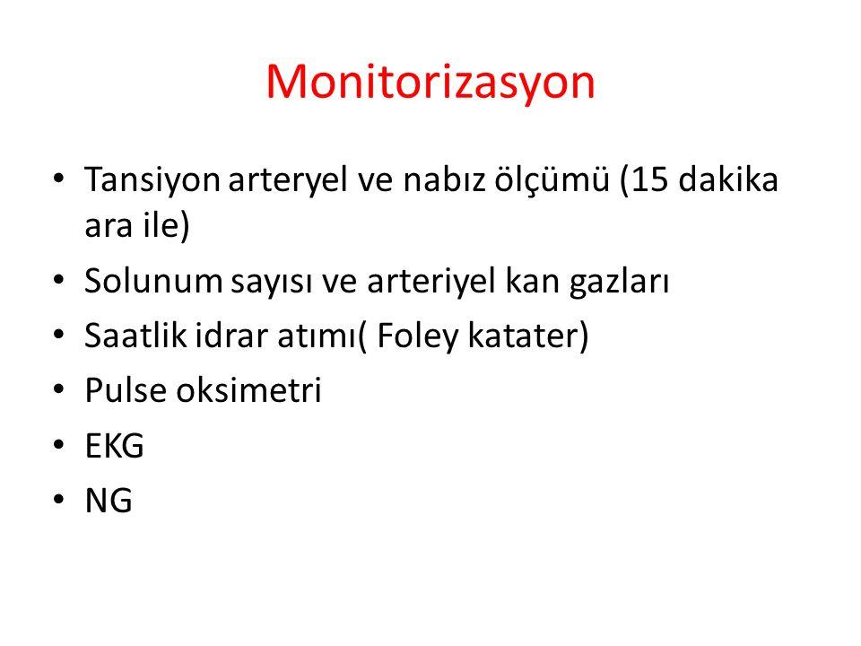 Monitorizasyon Tansiyon arteryel ve nabız ölçümü (15 dakika ara ile)