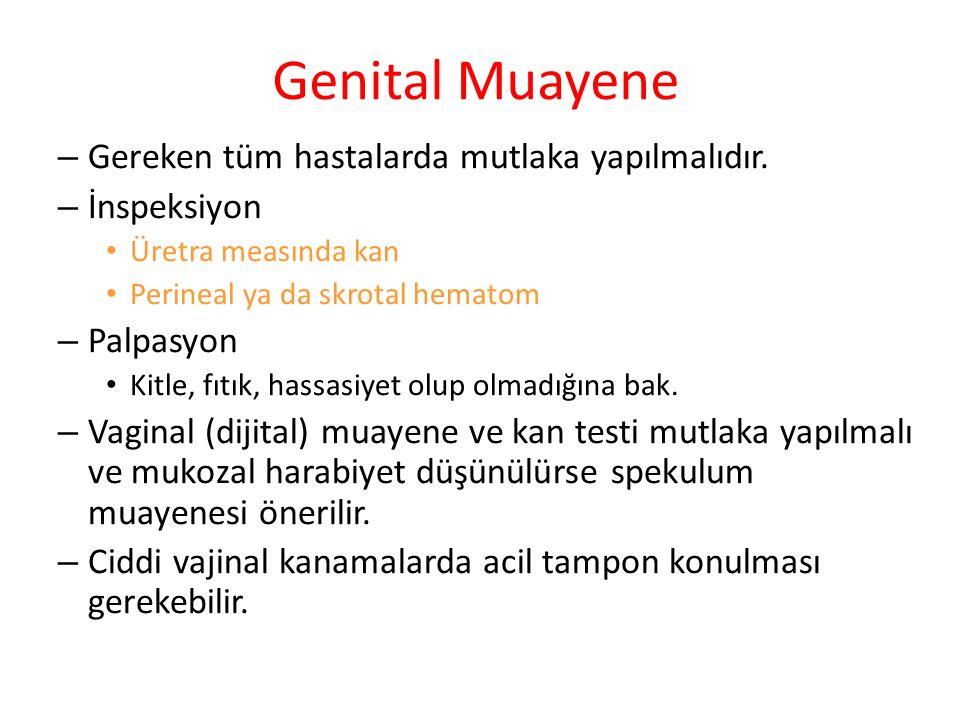 Genital Muayene Gereken tüm hastalarda mutlaka yapılmalıdır.