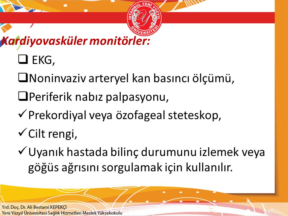 Kardiyovasküler monitörler: