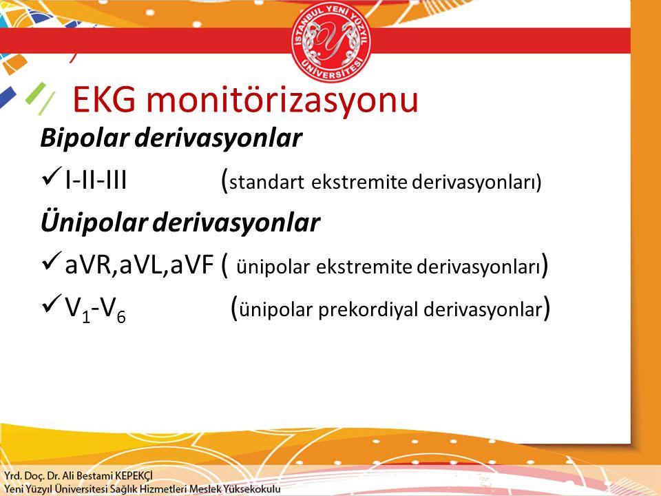 EKG monitörizasyonu Bipolar derivasyonlar