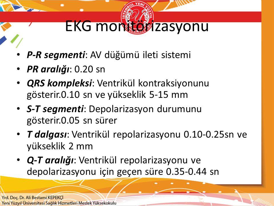 EKG monitörizasyonu P-R segmenti: AV düğümü ileti sistemi