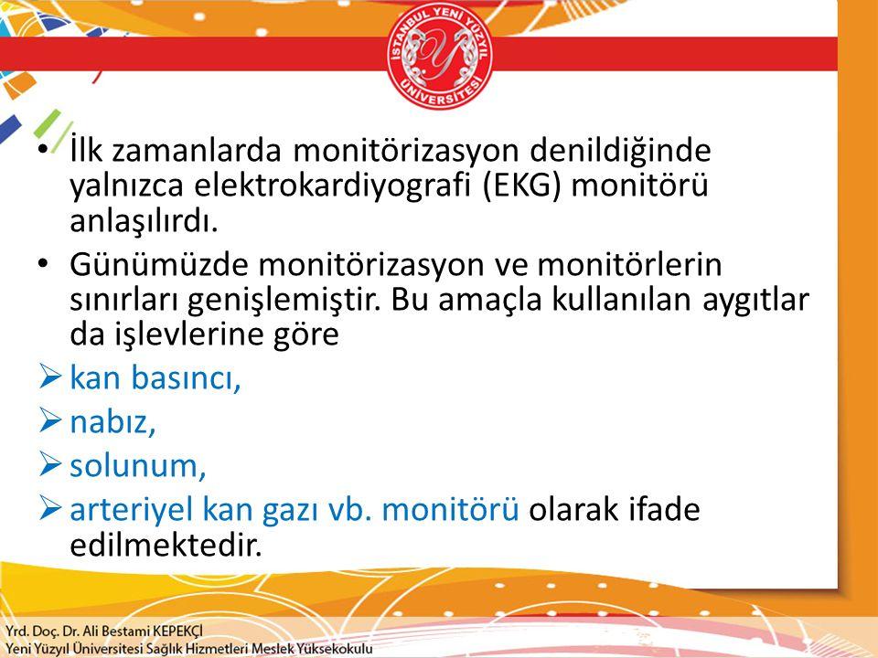 İlk zamanlarda monitörizasyon denildiğinde yalnızca elektrokardiyografi (EKG) monitörü anlaşılırdı.