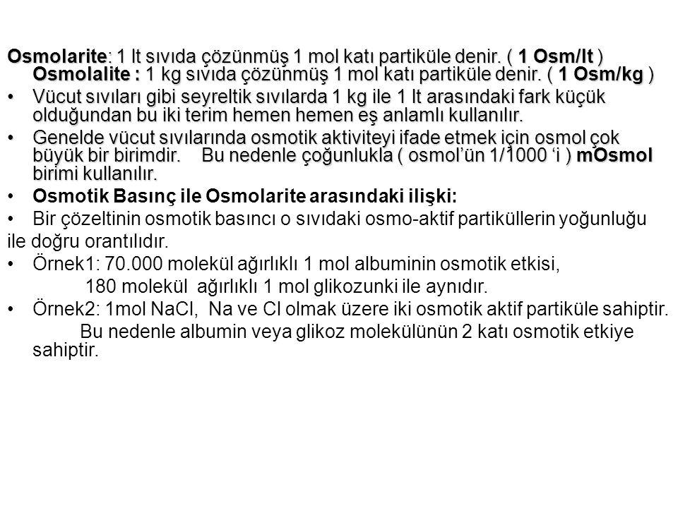 Osmolarite: 1 lt sıvıda çözünmüş 1 mol katı partiküle denir