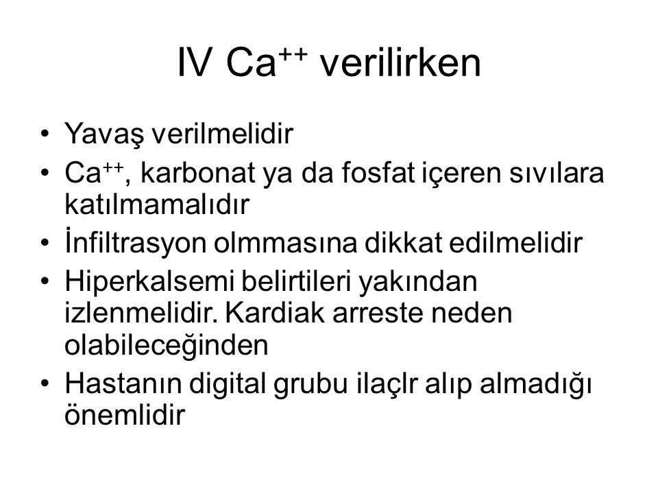 IV Ca++ verilirken Yavaş verilmelidir