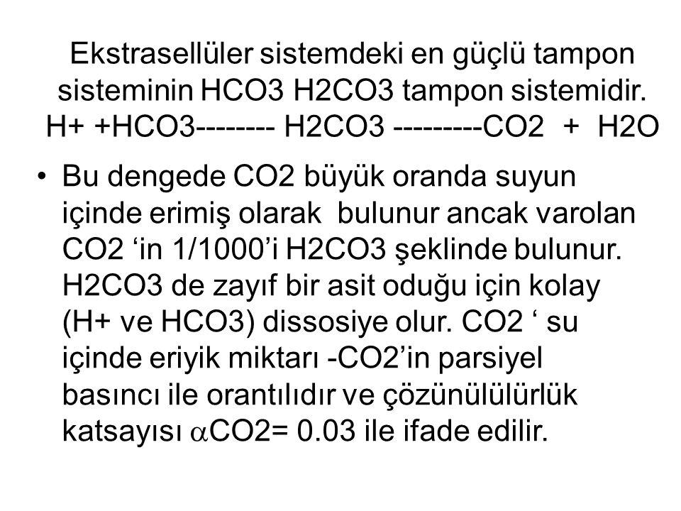 Ekstrasellüler sistemdeki en güçlü tampon sisteminin HCO3 H2CO3 tampon sistemidir. H+ +HCO3-------- H2CO3 ---------CO2 + H2O