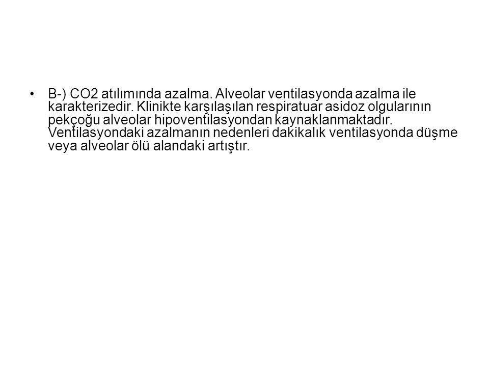 B-) CO2 atılımında azalma