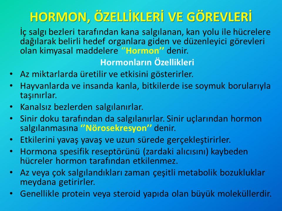HORMON, ÖZELLİKLERİ VE GÖREVLERİ