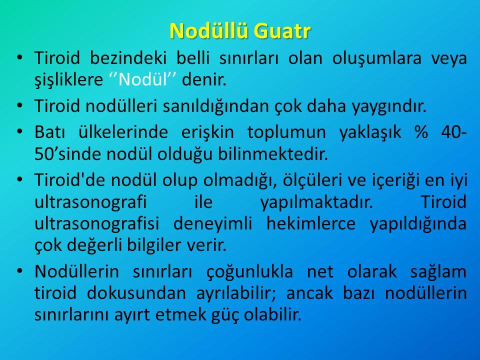 Nodüllü Guatr Tiroid bezindeki belli sınırları olan oluşumlara veya şişliklere ''Nodül'' denir. Tiroid nodülleri sanıldığından çok daha yaygındır.