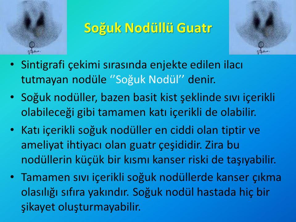 Soğuk Nodüllü Guatr Sintigrafi çekimi sırasında enjekte edilen ilacı tutmayan nodüle ''Soğuk Nodül'' denir.