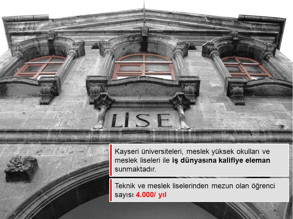 Kayseri üniversiteleri, meslek yüksek okulları ve meslek liseleri ile iş dünyasına kalifiye eleman sunmaktadır.