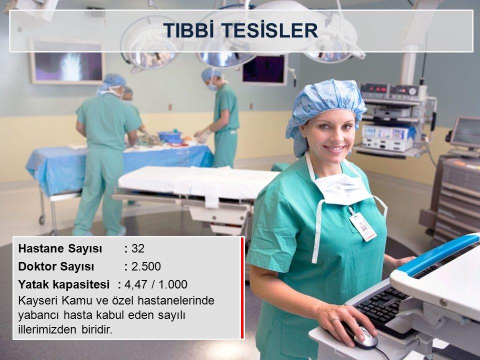 TIBBİ TESİSLER Hastane Sayısı : 32 Doktor Sayısı : 2.500