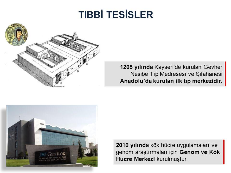 TIBBİ TESİSLER 1205 yılında Kayseri'de kurulan Gevher Nesibe Tıp Medresesi ve Şifahanesi Anadolu'da kurulan ilk tıp merkezidir.