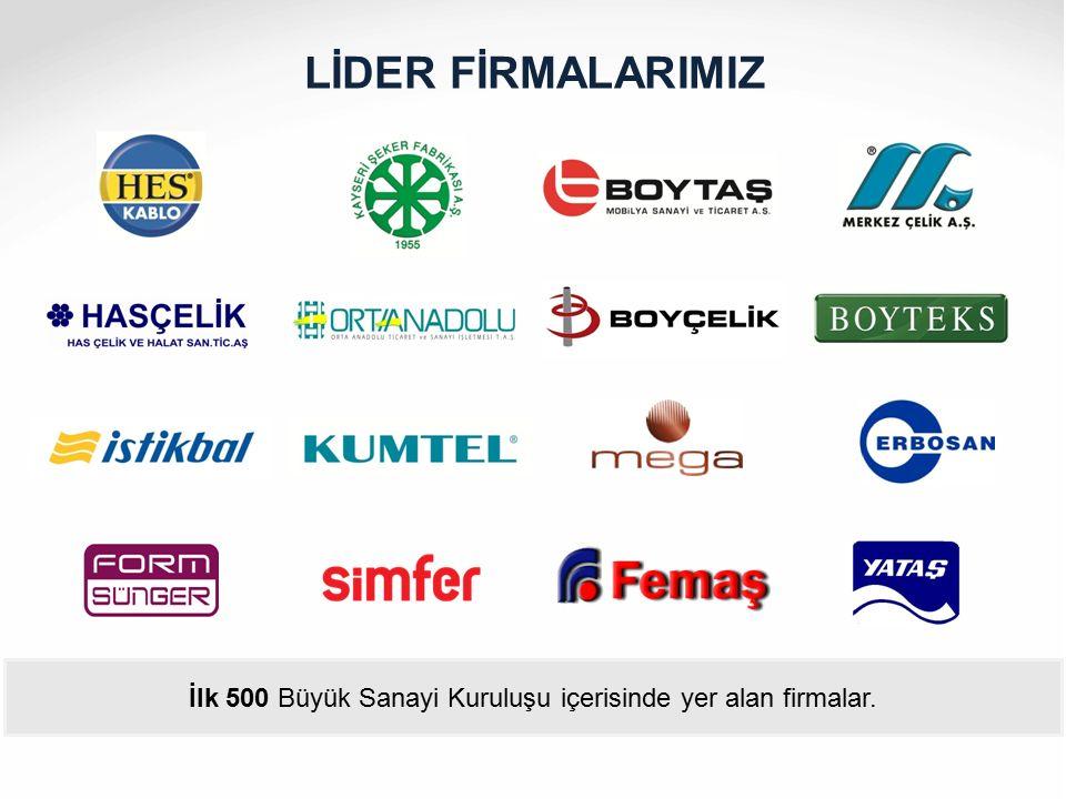 İlk 500 Büyük Sanayi Kuruluşu içerisinde yer alan firmalar.