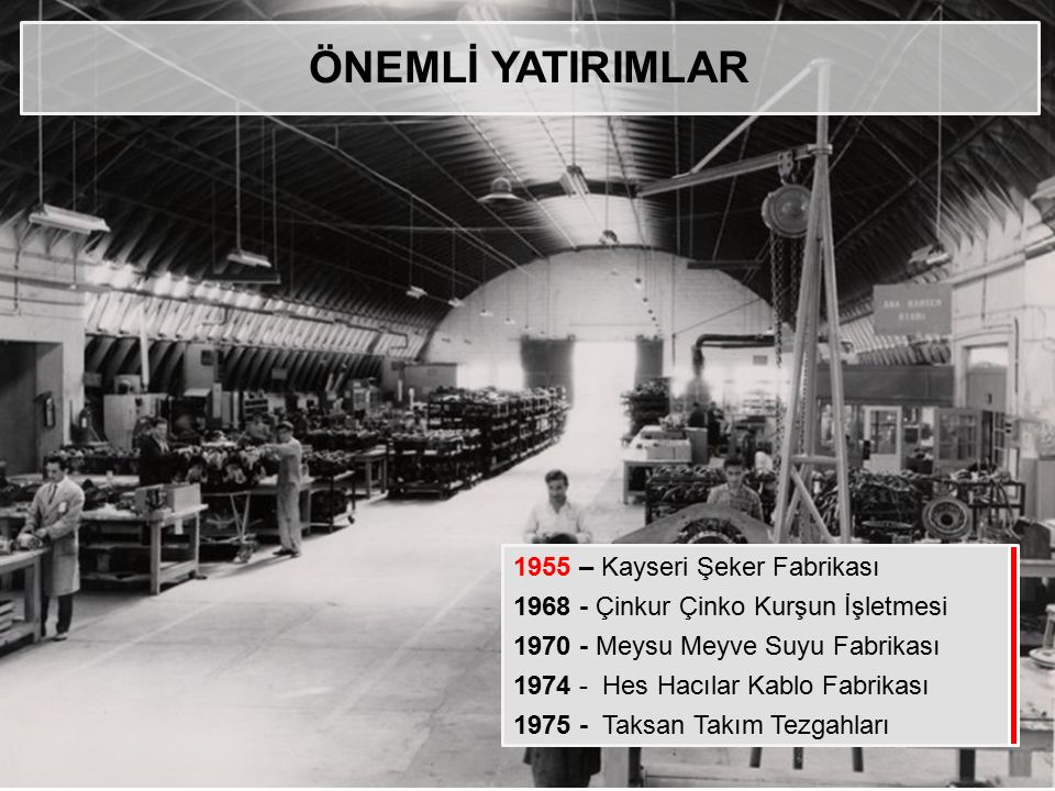 ÖNEMLİ YATIRIMLAR 1955 – Kayseri Şeker Fabrikası