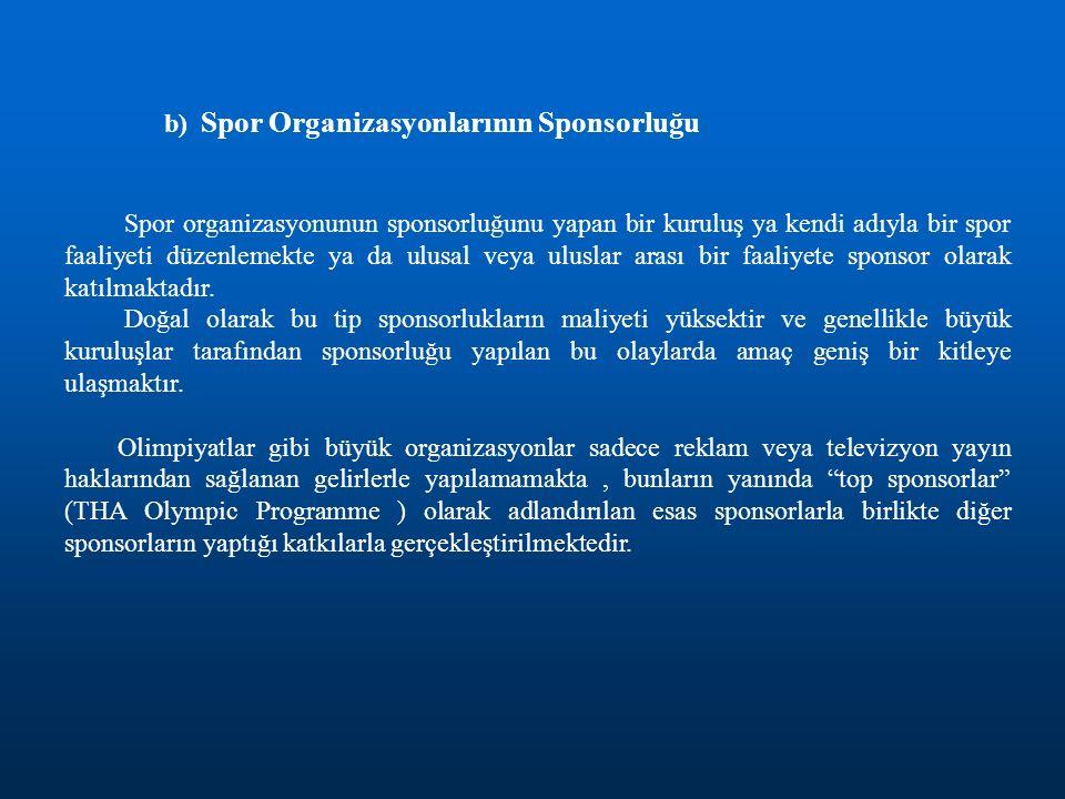 b) Spor Organizasyonlarının Sponsorluğu