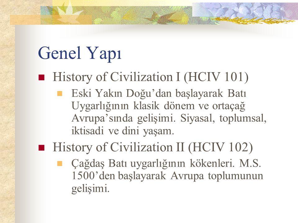Genel Yapı History of Civilization I (HCIV 101)