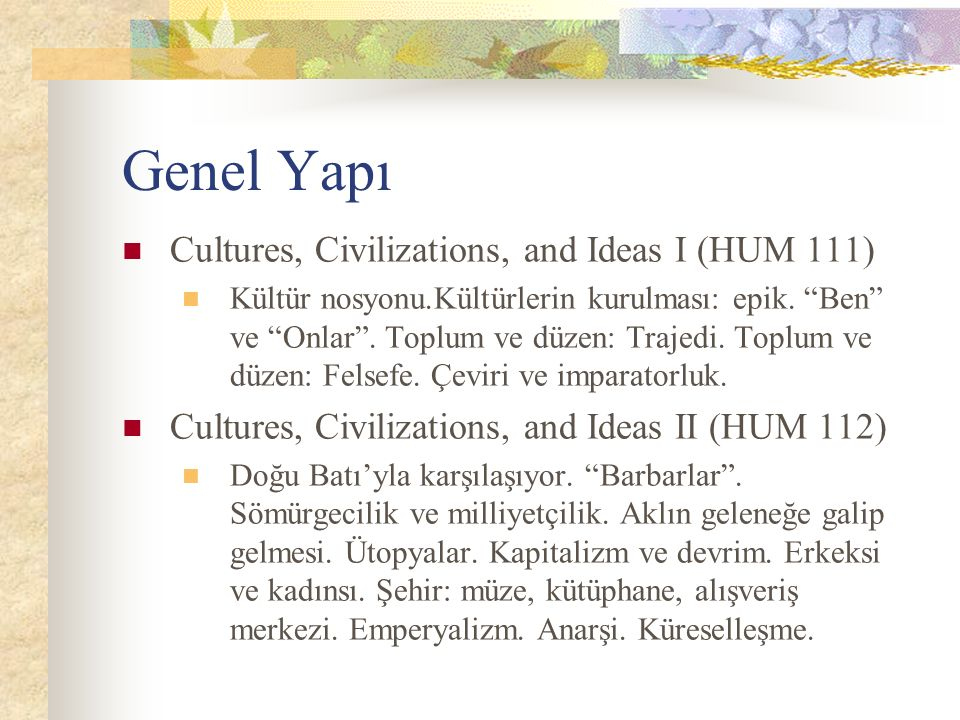 Genel Yapı Cultures, Civilizations, and Ideas I (HUM 111)