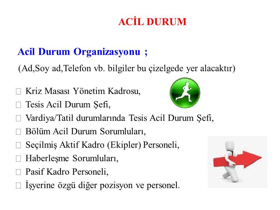 Acil Durum Organizasyonu ;