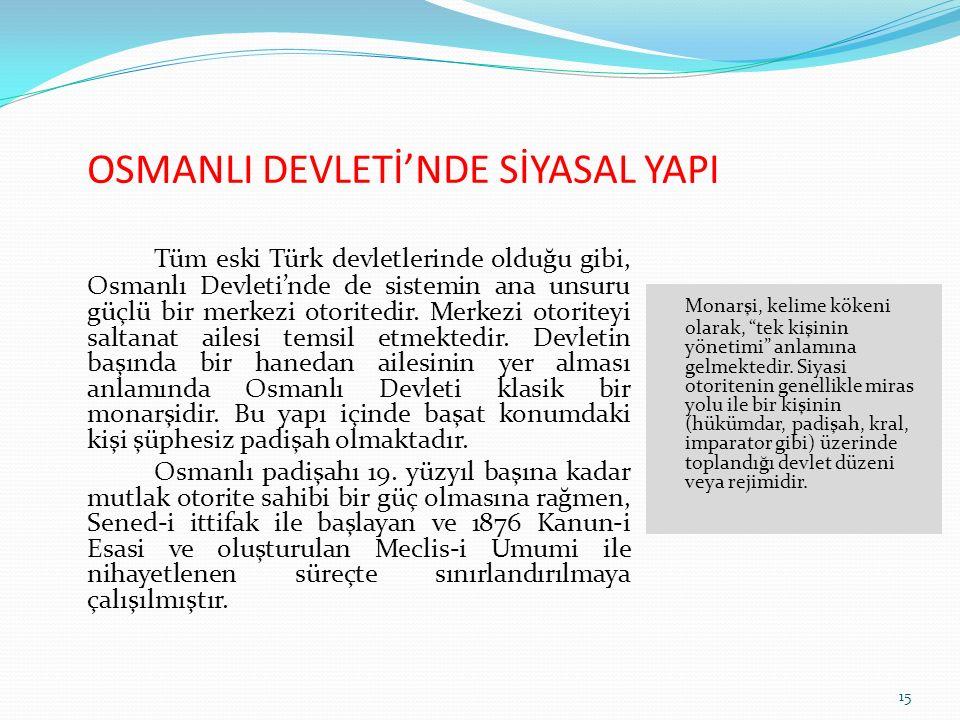 OSMANLI DEVLETİ'NDE SİYASAL YAPI