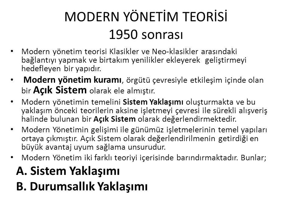 MODERN YÖNETİM TEORİSİ 1950 sonrası