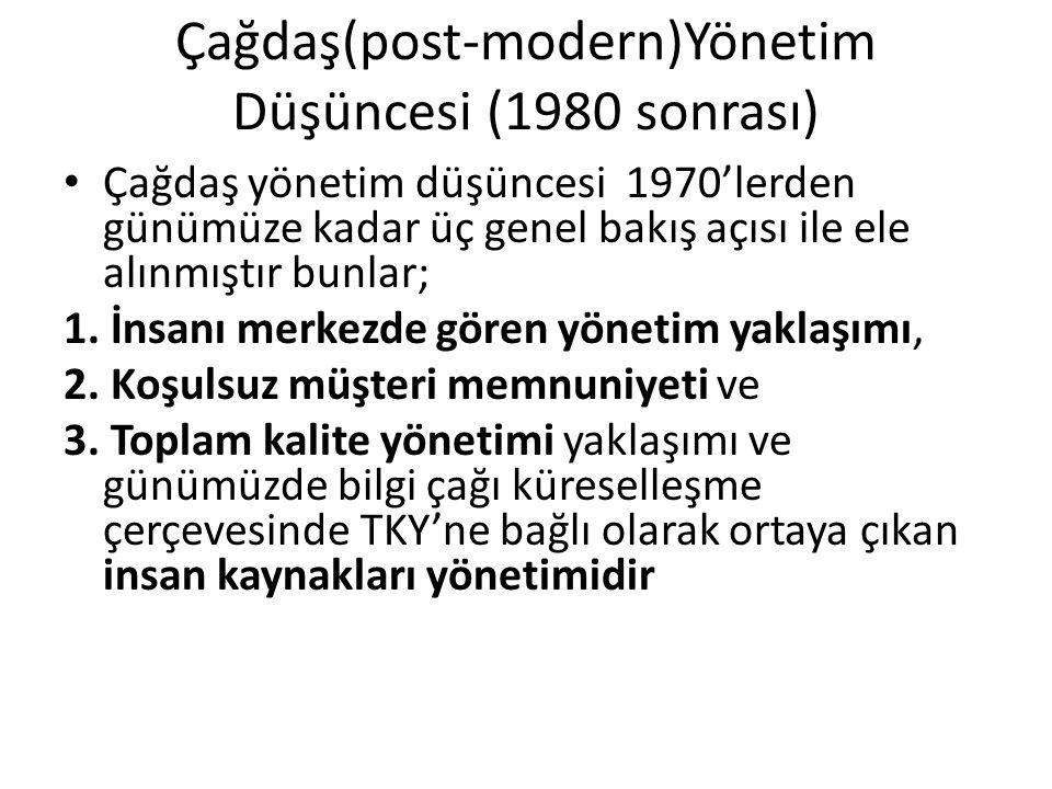 Çağdaş(post-modern)Yönetim Düşüncesi (1980 sonrası)